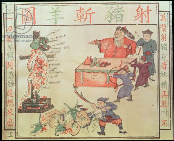 'Je Su, the Pig, is put to death', propaganda against the foreigners (woodblock print)