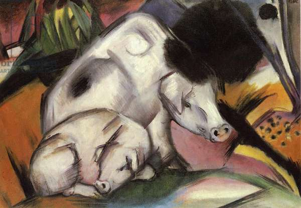 Pigs, 1912 (oil on canvas)