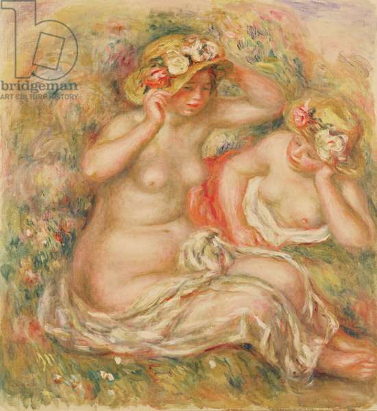 Two Nudes Wearing Hats
