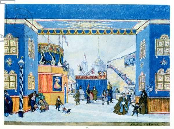 Stage set for Petrushka, Act I, by Igor Stravinsky (1882-1971)