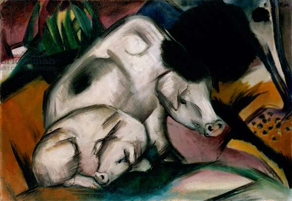 Pigs, c.1912 (oil on canvas)