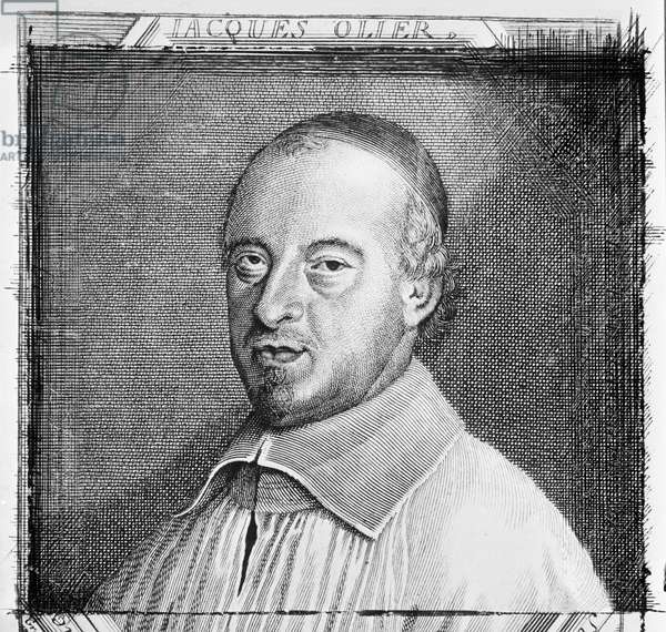 Jean Jacques Olier (1608-57) (engraving) (b/w photo)