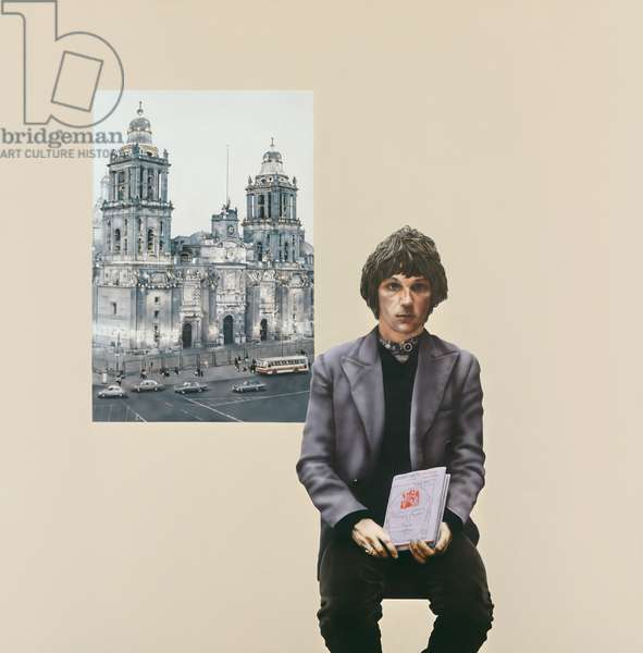 John Pearce and Mexico City Cathedral, 1972 (acrylic & tempera on canvas)