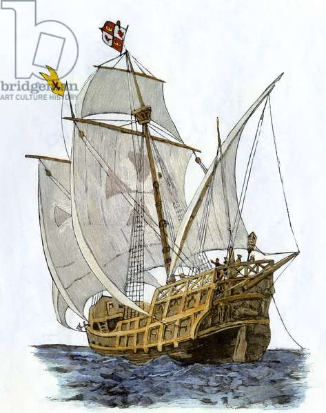 """The Caravelle """""""" Santa Maria, """""""" the flagship on board which Christopher Columbus (Cristoforo Colombo, 1451-1506) undertook his first voyage with which he reached Hispaniola in 1492. Coloured engraving of the 19th century."""