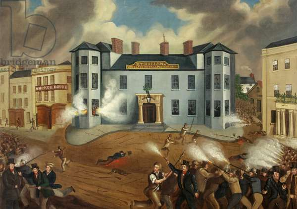 Attack on the Westgate Hotel, Newport, 1850-1900 (oil on canvas)