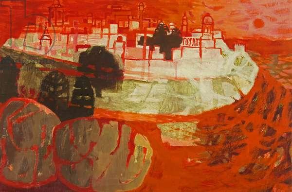 Maltese Town (oil on board)