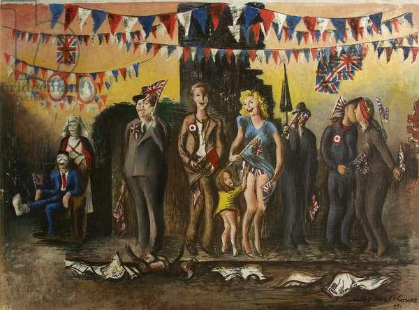 VE Day Celebration, 1945 (oil on plywood)
