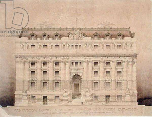 US Custom House, Bowling Green Elevation (w/c on paper)