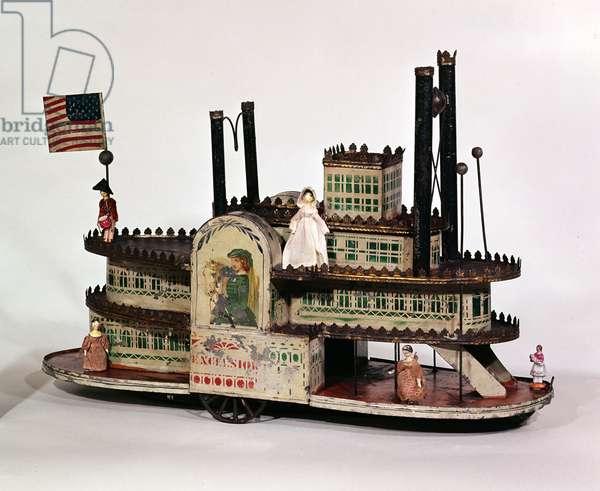 Toy Side-wheel steamer, c.1870 (iron, tin, paint)