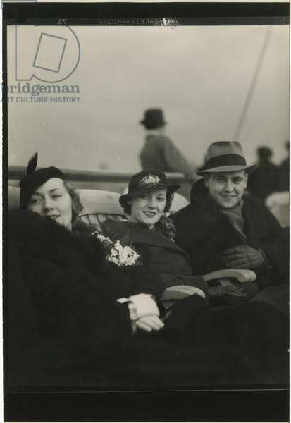 Leaving New York City in January 1932 aboard the Queen of Bermuda, Furness Bermuda Line, New York, USA, 1932 (gelatin silver photo)