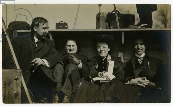 Beals on holiday in back of automobile, c.1905-40 (gelatin silver photo)