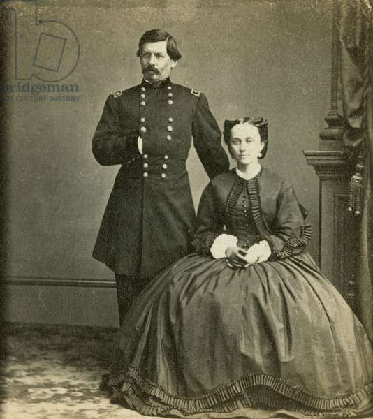 Major General George B. McClellan and his wife, published by Anthony's Stereoscopic Views, c.1861-65 (b/w photo)