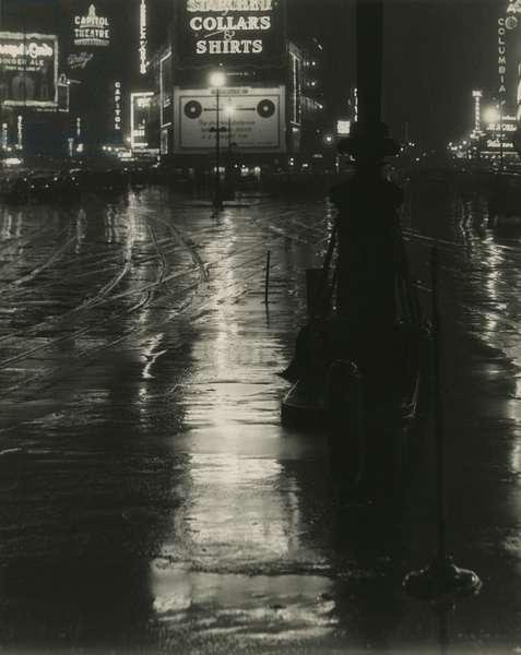 Broadway, Times Square. Rainy night, view down towards street, New York, USA, c.1920-38 (gelatin silver photo)