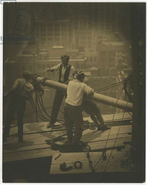 Salmon Tower, 500 Fifth Avenue, construction workers, New York, USA, c.1920-38 (gelatin silver photo)