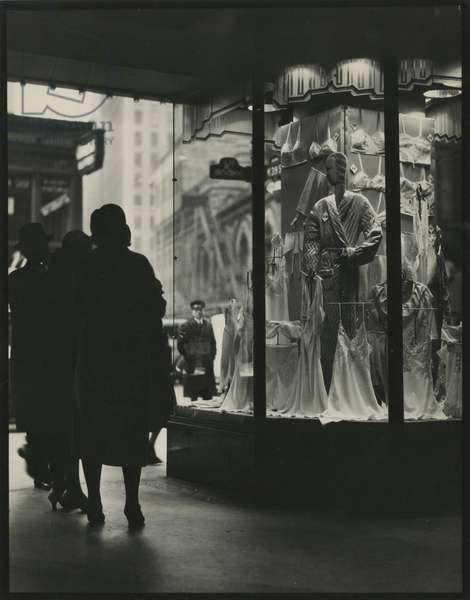 Lingerie in window display, 39th Street and Broadway, New York, USA, c.1920-38 (gelatin silver photo)