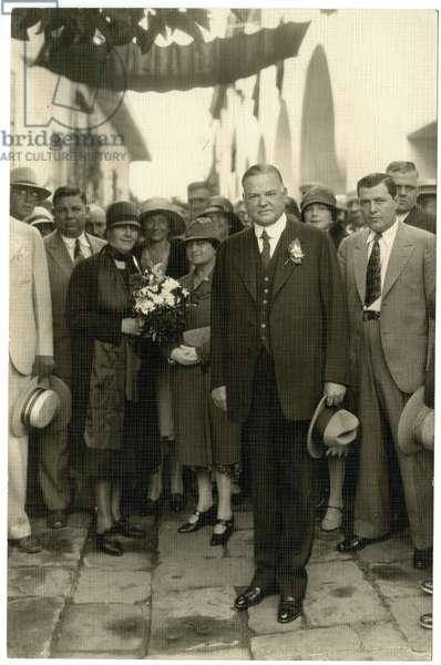 President Hoover - Mrs Hoover holding bouquet, c.1928-32 (gelatin silver photo)