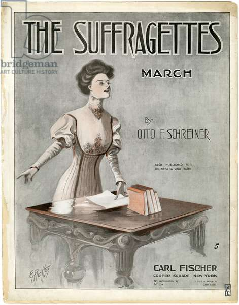 Sheet Music Cover for 'The Suffragettes March' by Otto F. Schreiner, 1910 (colour litho)