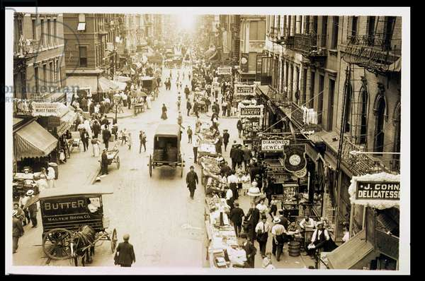 Eastward on Rivington and Orchard Streets, 1905 (b/w photo)