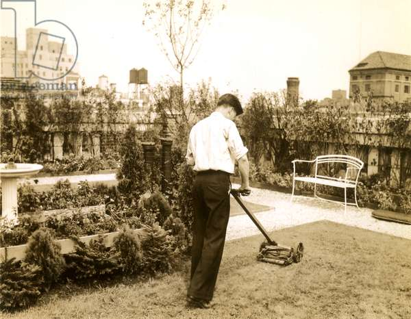 Mowing a lawn atop skyscraper of Park Ave, N.Y.C, New York, USA, c.1920-38 (gelatin silver photo)