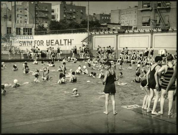 Cascades Pool, 169th Street and Jerome Avenue, bathers in pool, New York, USA, c.1920-38 (gelatin silver photo)