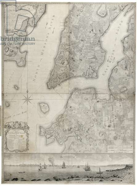 Plan of the City of New York in North America (black ink on paper, backed with paper backed with cloth)