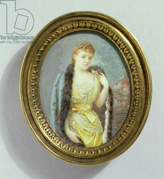 Portrait of Edith Wharton (1862-1937), 1890 (w/c on ivory)