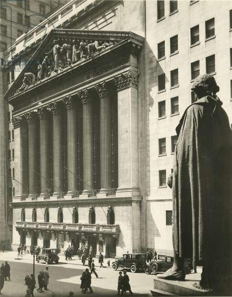 New York Stock Exchange, Broad & Wall Street, from Treasury Steps, New York, USA, c.1920-38 (gelatin silver photo)