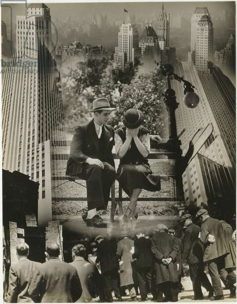 Photomontage for Majestic Pictures: couple on a park bench, unemployment lines, city skyscrapers, USA, c.1929-38 (gelatin silver photo)
