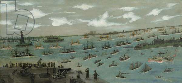Review of the United States Fleet in New York Harbour with the Statue of Liberty, 1893 (oil on canvas)