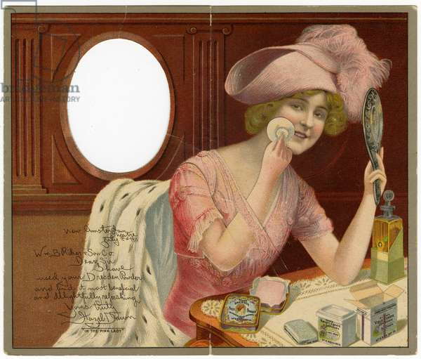 Riker's Dresden Face Powder - Putting on the Finishing Touch. [advertising postcard recto], 1911 (lithograph)