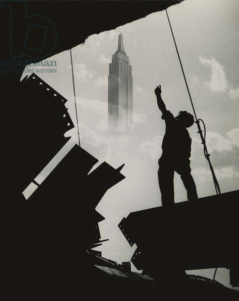 Construction of Salmon Building, 500 Fifth Avenue - Empire State Building Superimposed, USA, c.1920-38 (gelatin silver photo)