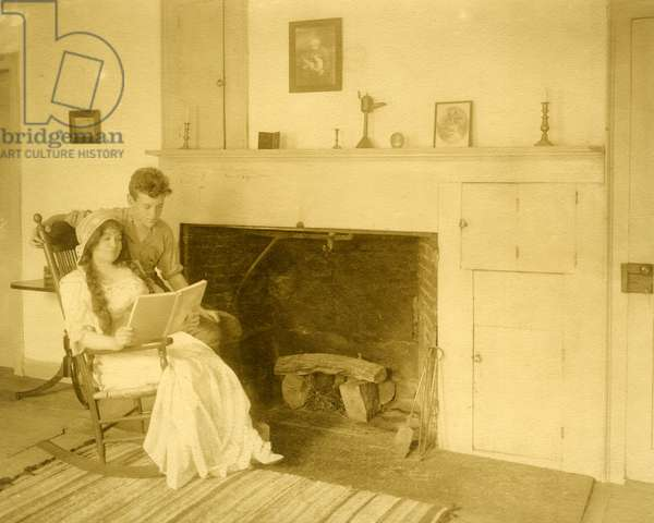 Malcolm Stewart Boylan and his mother He is one of the 9 important title writers of Hollywood, c.1905-17 (gelatin silver photo)