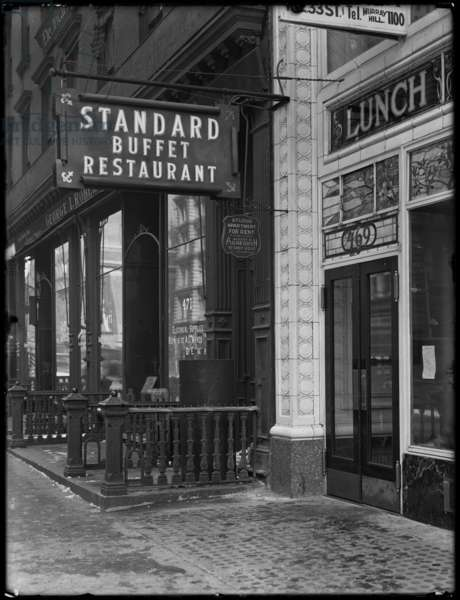 Sign for Standard Buffet Restaurant, Fourth Avenue between E. 31st and 32nd Streets, New York City, February 6, 1917 (b/w photo)