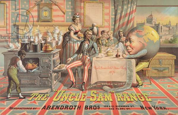 Poster advertising the 'Uncle Sam' Range, manufactured by Abendroth Bros., New York, 1876 (colour litho)