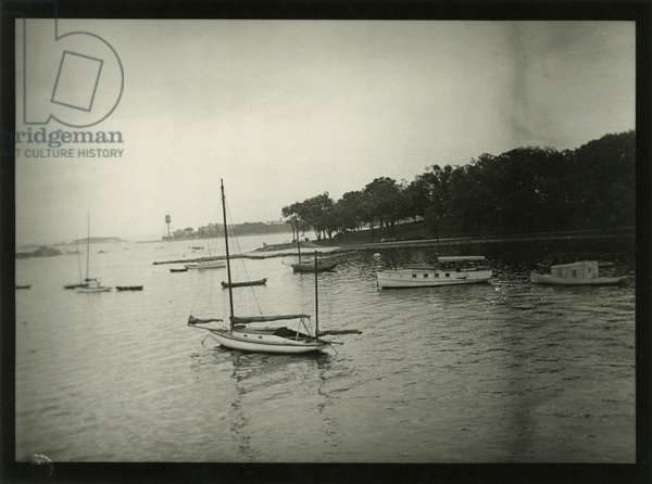 Yacht and small boats off Glen Island, New Rochelle, N.Y, New York, USA, c.1920-38 (gelatin silver photo)