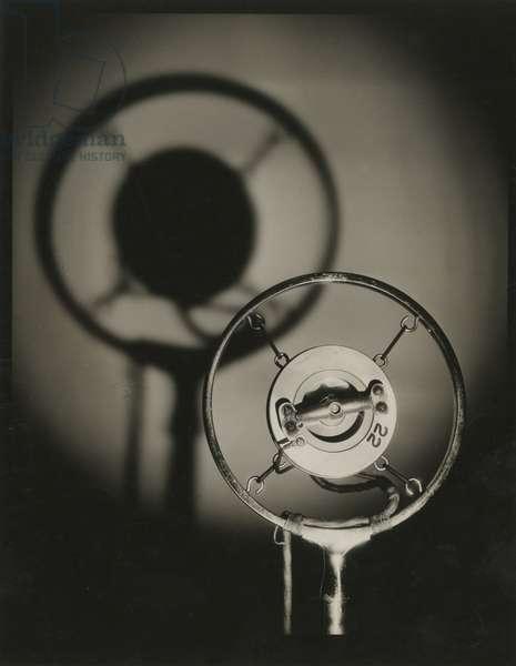 Microphone, radio station, USA, c.1920-38 (gelatin silver photo)