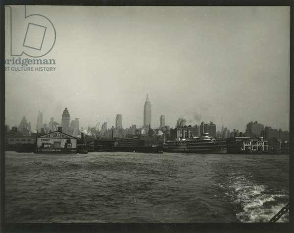 Skyline view of Manhattan from 42nd Street Ferry, New York, USA, c.1920-38 (gelatin silver photo)