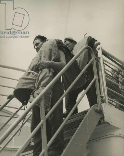 Sailors on a steamship, New York, USA, c.1920-38 (gelatin silver photo)