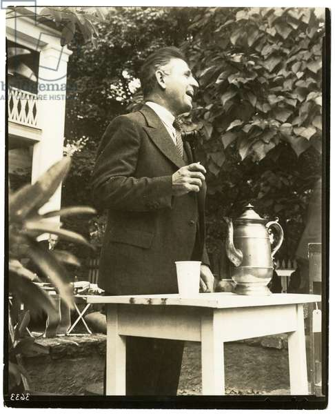 John W. Mitchell famous auctioneer, Country Auction in Greenwich, Conn or Weston, Conn, 1937 (gelatin silver photo)
