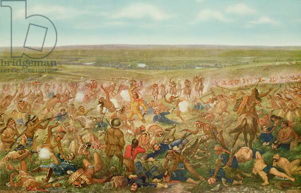 The Artist's Conception of the Battle of Little Big Horn, June 25th 1876 (colour litho)
