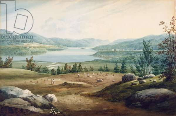 Hudson River at West Point, New York, 1820 (w/c on paper mounted on cardboard)