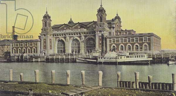 Ellis Island - Immigration Depot, New York (colour litho)