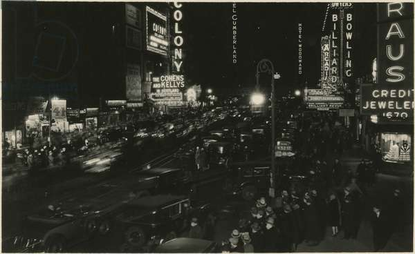 Broadway and 52nd Street at night, crowds and traffic among lighted signs, New York, USA, c.1930 (gelatin silver photo)