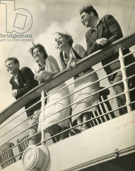 Four passengers on deck, Queen of Bermuda, Furness Bermuda Line, 1932, USA, 1934 (gelatin silver photo)