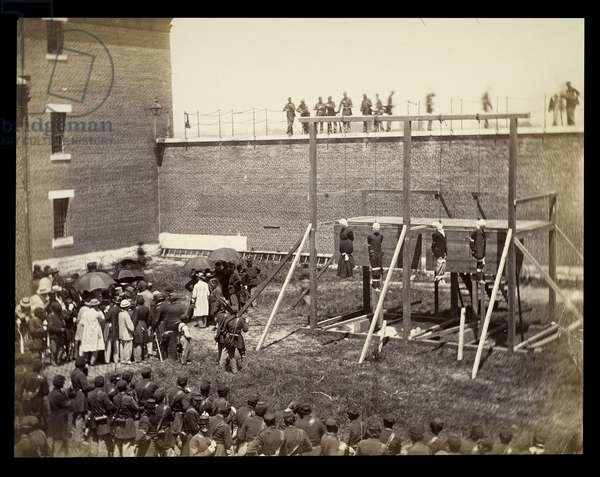 Execution of Lincoln Assassination Conspirators after the Trap Sprung, July 7, 1865., 1865 (photo)