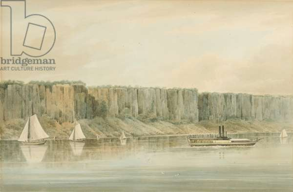 "View of the Palisades, New Jersey: Preparatory Study for Plate 19 of ""The Hudson River PortFolio"", 1820 (Watercolor, graphite, and scratching out with touches of gouache on paper, laid on card.)"