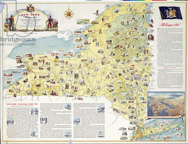 Pictorial map of New York - 'The Empire State' (colour litho)