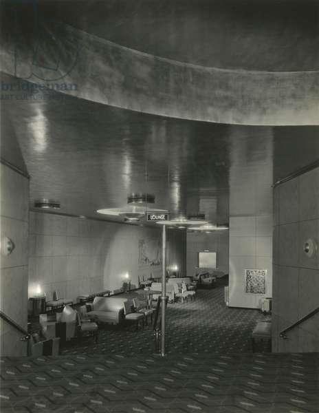 RKO Roxy Theatre (1932), 1230 Sixth Avenue at 49th Street: Lounge, New York, USA, c.1932-38 (gelatin silver photo)