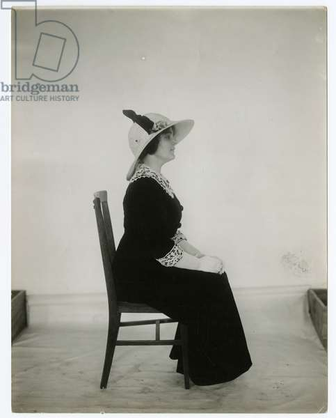 Right way to sit in a chair, c.1905-18 (gelatin silver photo)