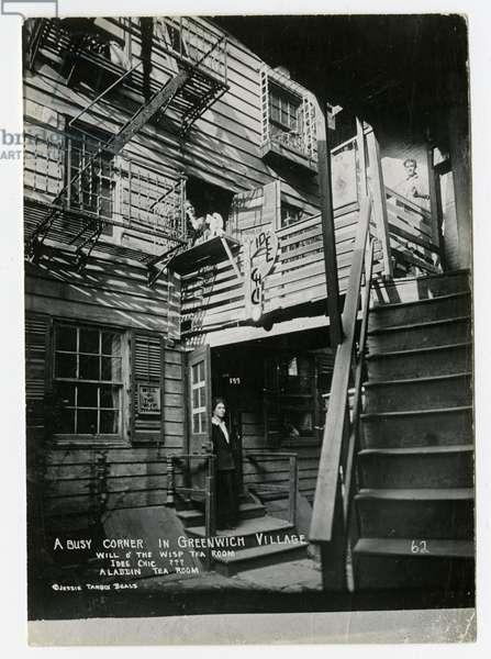A Busy Corner in Greenwich Village, Will o' the Wisp Tea Room, Idee Chic ?, Aladdin Tea Room, New York, USA, c.1905-40 (gelatin silver photo)